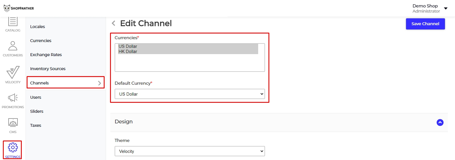 channel setting for currency